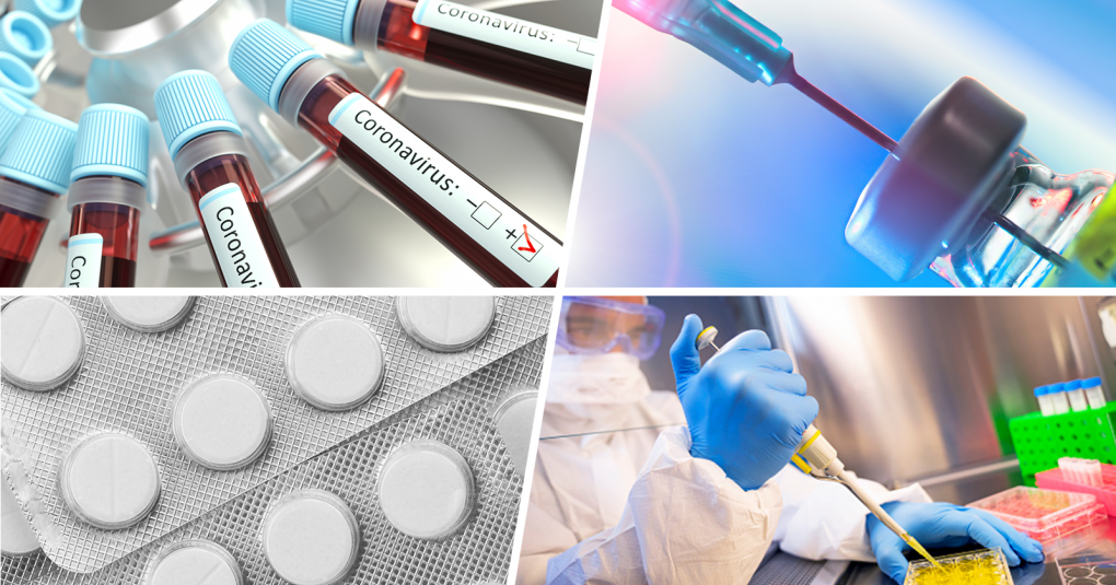 collage of four photos showing: vials of blood labelled coronavirus positive, vaccine or antiviral medication vial with syringe inserted, scientist preparing samples with pipettte in lab wearing full protective clothing, round white medicine tablets in blister pack | FDA
