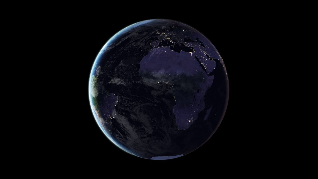 This image of Earth at night in 2016 was created with data from the Suomi National Polar-orbiting Partnership (NPP) satellite launched in October 2011 by NASA, the National Oceanic and Atmospheric Administration, and the U.S. Department of Defense.