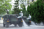 Disinfectant being sprayed in Taiwan. Military News Agency Zhou Lihang