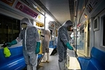 Workers disinfect Tehran subway wagons against coronavirus. Zoheir Seidanloo