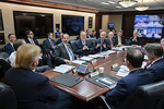 President Donald J. Trump, joined by Secretary of Health and Human Services Alex Azar and White House Chief of Staff Mick Mulvaney, listens as Dr. Anthony S. Fauci, Director of the National Institute of Allergy and Infectious Diseases, addresses a briefing on the latest information about the Coronavirus Wednesday, Jan. 29, 2020, in the Situation Room of the White House. Joyce N. Boghosian