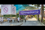 A triage system set up at Siem Reap Provincial Hospital on March 2020 after identifying a case-contact who tested positive for COVID-19. CDC Global