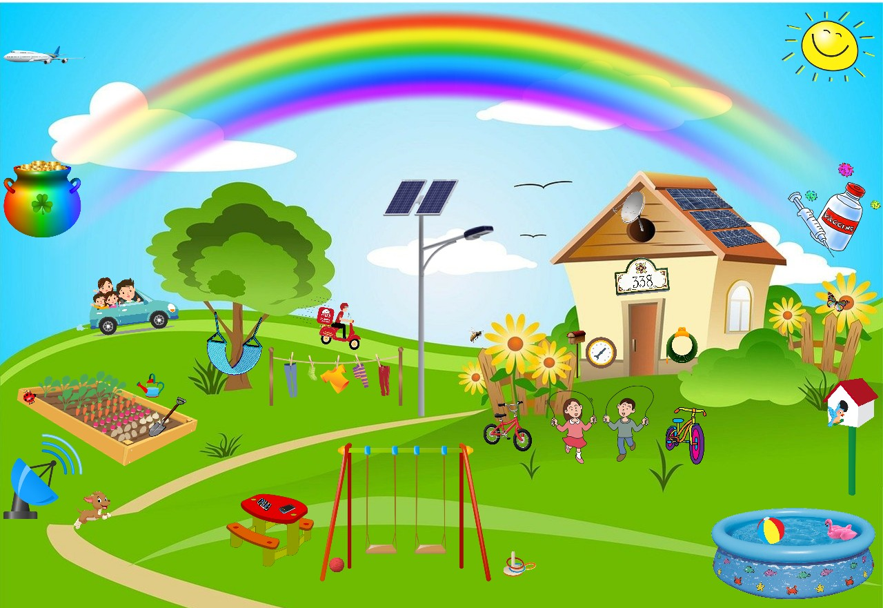 House in the countryside with rainbow signifying a return to normalcy after a downpour of rain | house image courtesy of pixabay.com and rainbow image courtesy gallery.yopriceville.com